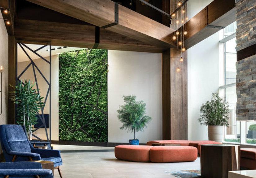 biopholic hotel lobby interior design