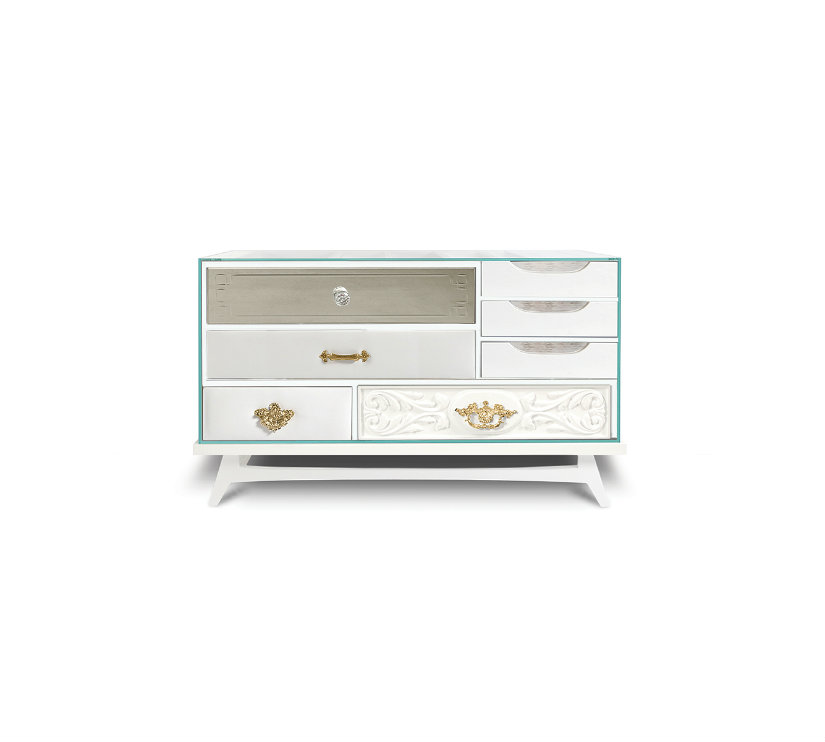 Mondrian white luxury nightstand BL