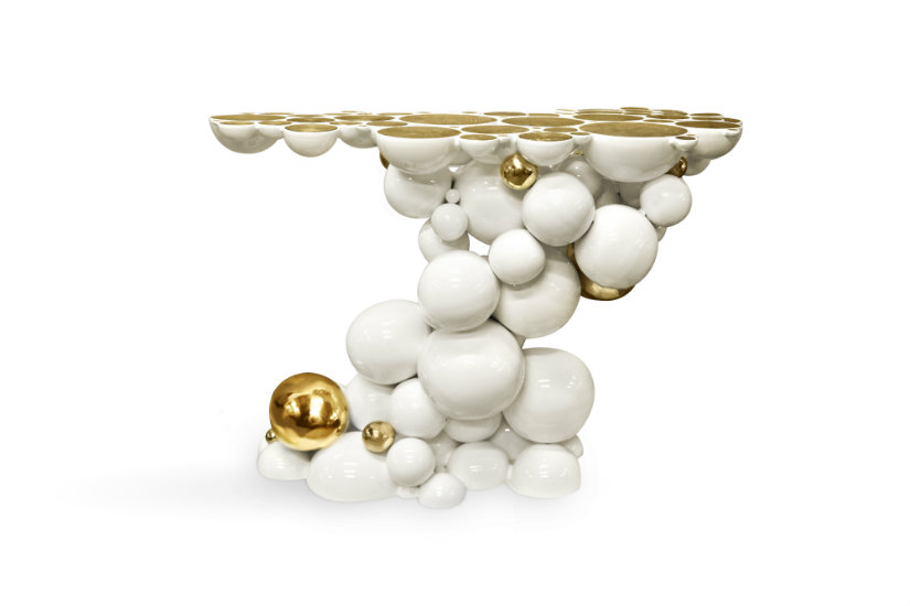 Luxury Console Table in white and gold