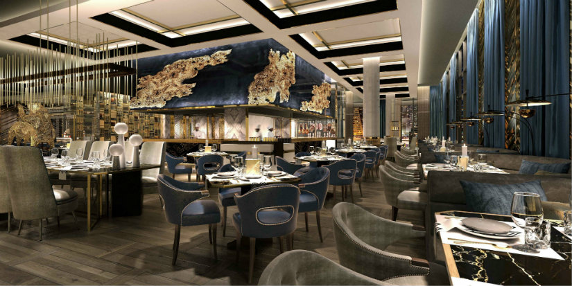 Restaurant luxury decor at Waldorf Astoria Dubai