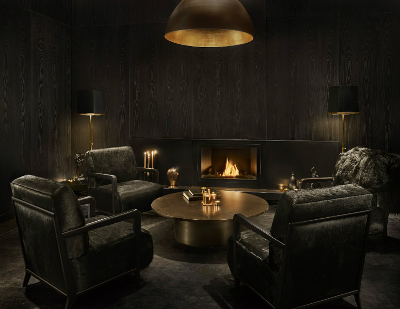 Yabu Pushelberg hotel ideas with black seating furniture